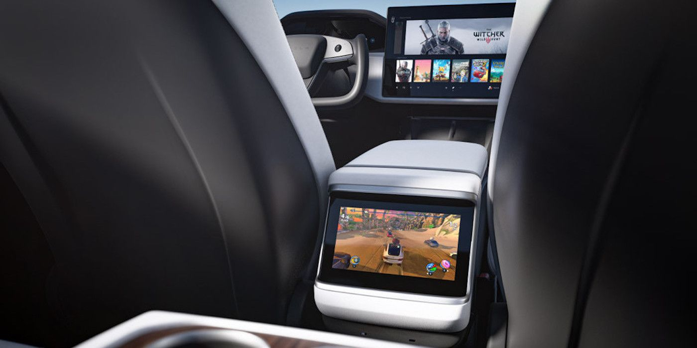 Elon musk revealed the Tesla model s interior with gaming view