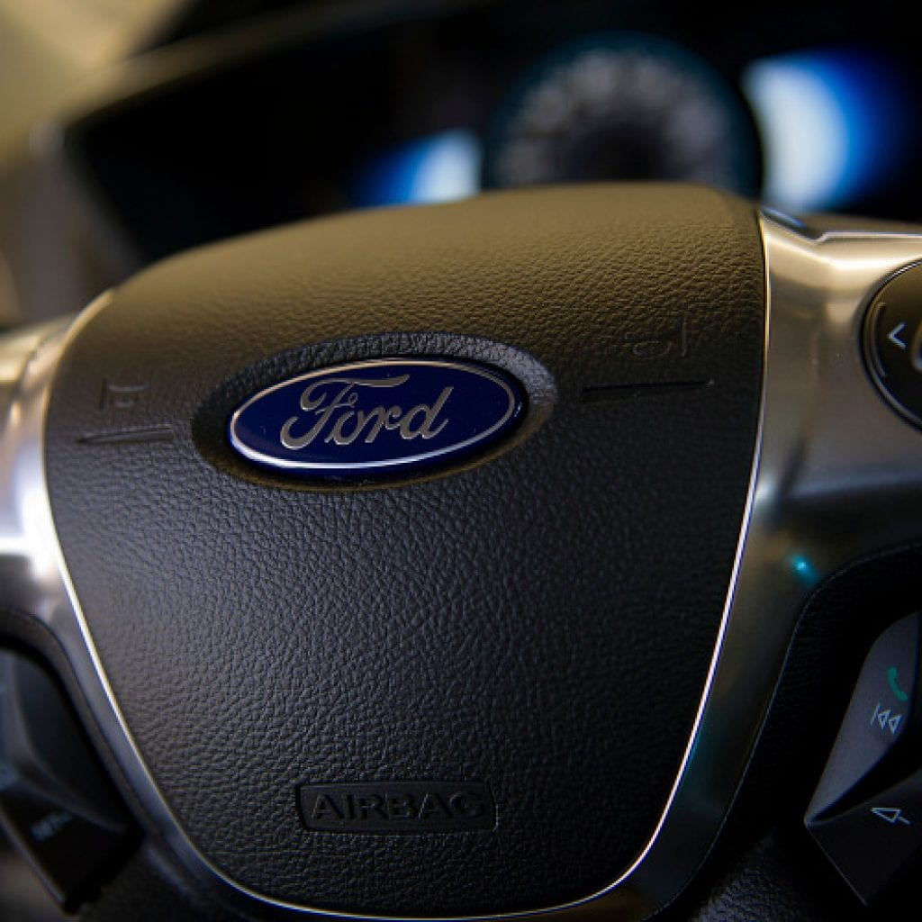 The steering wheel of Ford Vehicle.