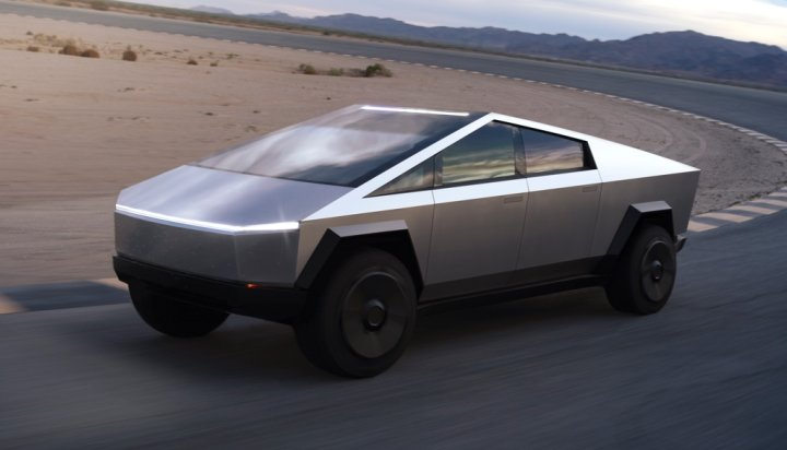 Tesla cyber truck, the new electric vehicle showing its exterior