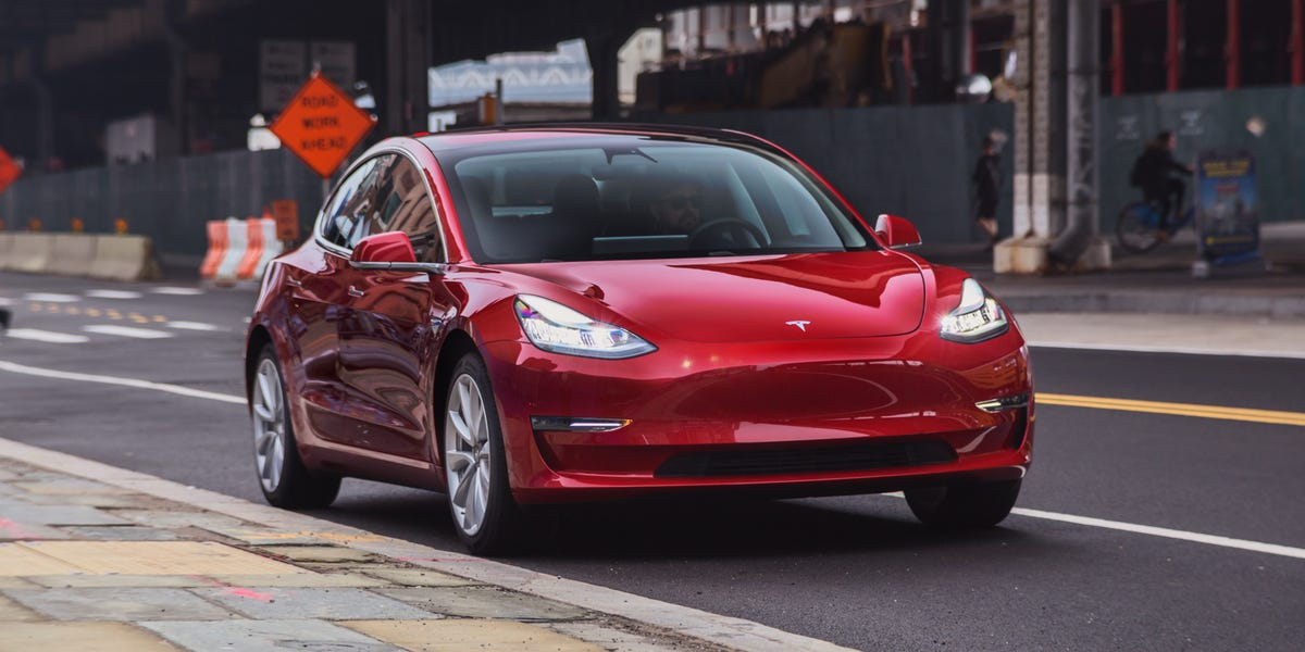 Tesla Model 3 showing its exterior