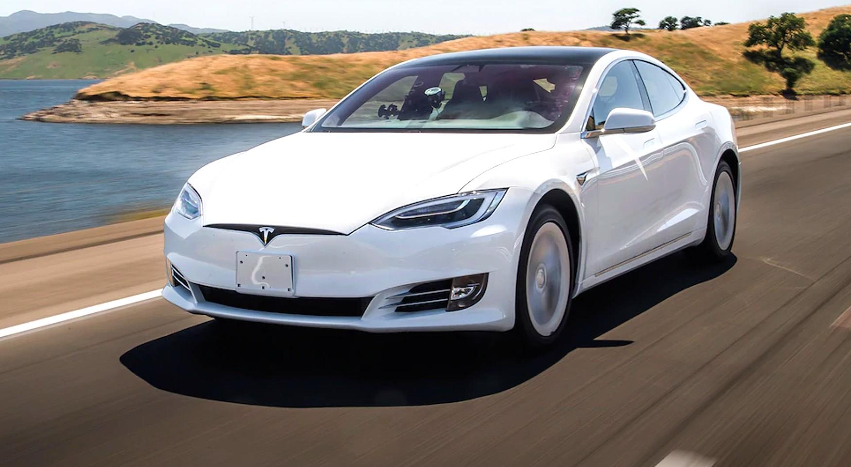 Tesla vehicle is on the road